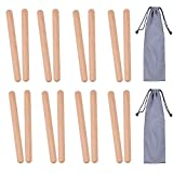 8 Pairs (16 Packs) Classical Wood Claves Musical Percussion Instrument, 8 Inch Natural Hardwood Rhythm Sticks with 2 Carry Bags for Adults and Kids