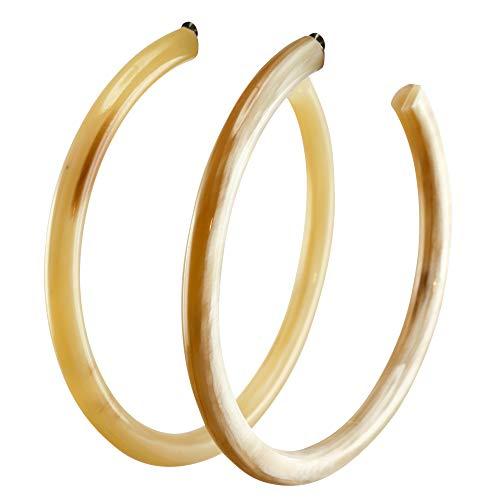 Feliss Damen Schmuck Ohrringe - Creole 60mm, weißes Horn - Geschenk für Frauen Ohrstecker, hängend besondere Geschenke Creolen lange Hängeohrringe Stecker
