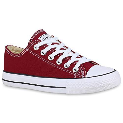 stiefelparadies Damen Übergrößen Sneakers Freizeit Schuhe Stoffschuhe Sportschuhe 172622 Dunkelrot Lucky 42 Flandell