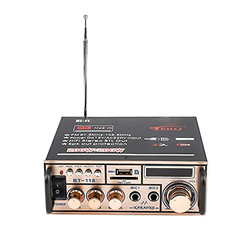 12 V/220V Mini Amplificador Bluetooth,HiFi Audio Estéreo Pantalla LCD de 2 CH de Potencia, BT FM Radio Portátil Auto Home 400 W, Mando a Distancia Audio Amplificador MP3(Oro)