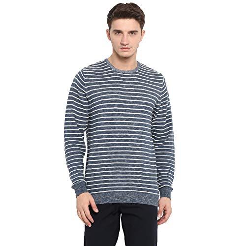 Monte Carlo Grey Striped Cotton Round Neck Sweaters
