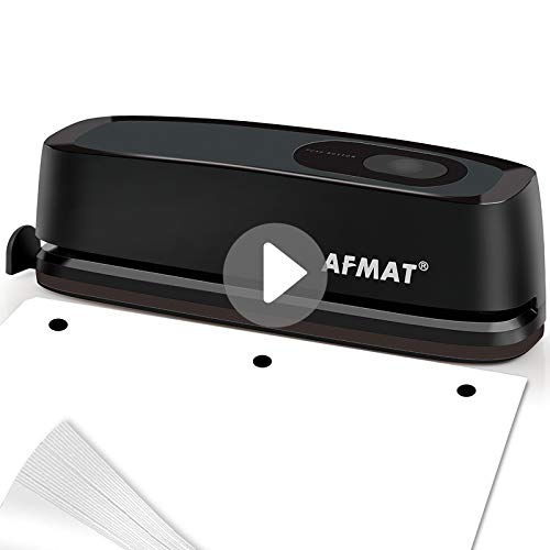 Electric Paper Punch VEARMOAD 3 Hole Punch Automatic Paper Puncher with 20 Sheet Punch Capacity amp AC or Battery Operated Heavy Duty Durable Hole Puncher for Office School Studio Black