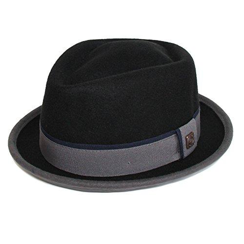 DASMARCA-Collection Hiver-Chapeau de Feutre Porkpie Noir/Gris-Edward-M