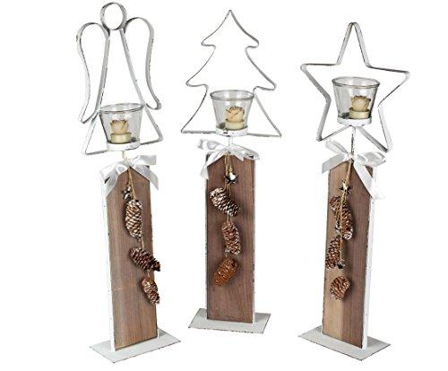 Weihnachtliches Windlicht auf Holzsäule, 66 cm hoch, Stern, Engel, Tannenbaum, weiß gewischt mit Naturmaterialien verziert