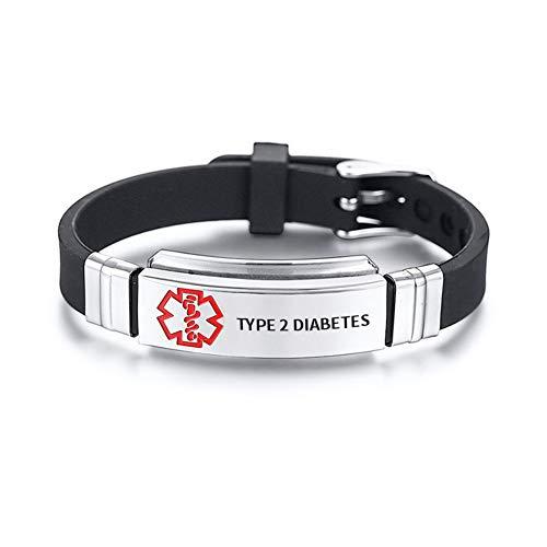 Personalised Medical Alert ID Bracelets Stainless Steel SOS Cuff Bangle for Men Women,Emergency Jewellery