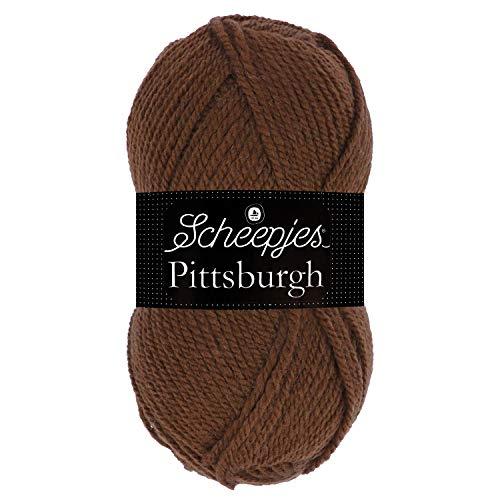 Scheepjes Pittsburgh 1581-9101 Dunkelbraun Hilo para Tejer a Mano, 60% poliacrílico, 40% Lana, marrón Oscuro, Talla única