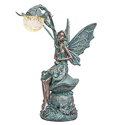 TERESA'S COLLECTIONS Large Fairy Garden Statue with Solar Powered Lights, Outdoor Fairy Garden Figurines Sitting on Mushroom Yard Art, Ideal for Garden,Lawn,Yard Decorations 14inch Tall