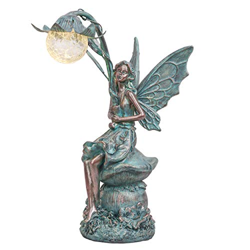 TERESA'S COLLECTIONS Adornos de Jardín de Hada con Luz Solar, 35cm Figurilla de Resina Solar de Hada, Accesorios de Estatua al Aire Libre, Decoración para Casa, Césped