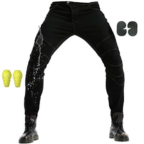 """WCCI Uomo Moto Biker Jeans Pantaloni da Moto Impermeabili Rinforzato Protezione Includono Armature Motorcycle Pants (Nero, XL=36.5"""" (95cm waist))"""