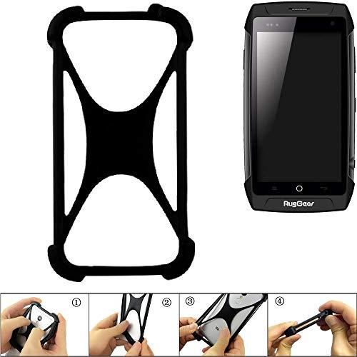 K-S-Trade Handyhülle Kompatibel Mit Ruggear RG730 Schutz Hülle Silikon Bumper Cover Case Silikoncase TPU Softcase Schutzhülle Smartphone Stoßschutz, Schwarz (1x)