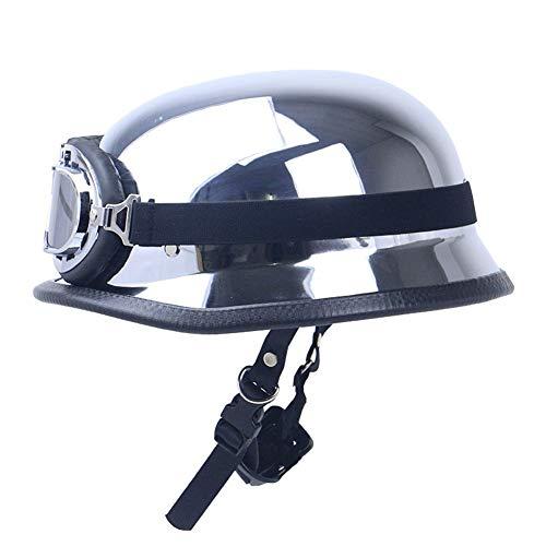 Casco de cara abierta de estilo vintage Medio casco de moto con gafas, certificación DOT/ECE Medio casco de moto Adecuado para hombres,mujeres motocicleta XXL(63-64cm)