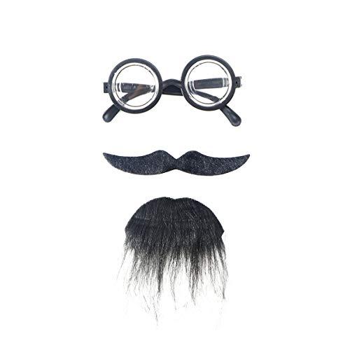 ABOOFAN Gafas falsas para barba, autoadhesivas, bigotes peludos, accesorios para cosplay, kit de bigotes falsos, para Halloween, fiestas, disfraces, fiestas, color negro