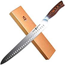 "TUO Slicing Knife - Granton Carving Knife - Hollow Ground High Carbon German Stainless Steel Kitchen Cutlery - Pakkawood Handle - Luxurious Gift Box Included - 12"" - Fiery Phoenix Series"