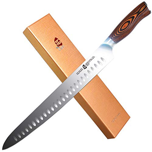 TUO Slicing Knife 12 inch - Granton Carving Knives Hollow Ground Meat Cutting Knife Kitchen Long Slicer & Carver - HC German Stainless Steel Pakkawood Handle - Gift Box Included - Fiery Series