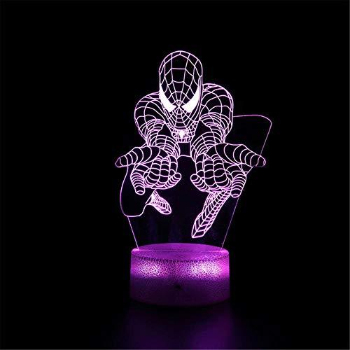 Luz LED 3D de la noche, Spiderman C ilusión lámpara con control remoto 16 colores cambiantes de Navidad Halloween regalo de cumpleaños para niño niña