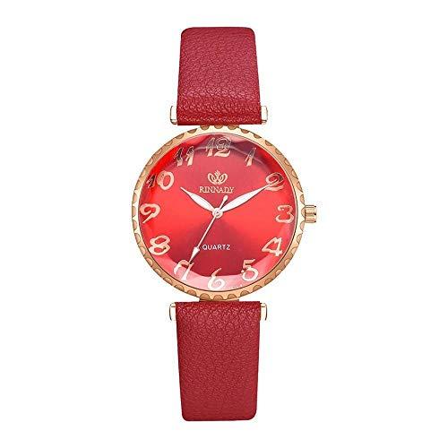 JZDH Relojes para Mujer Moda Mujer Moda Retro Dial Cuero Analógico Reloj de Muñeca Relojes Relojes Mujeres Relojes de San Valentín Regalo Relojes Decorativos Casuales para Niñas Damas (Color : White)