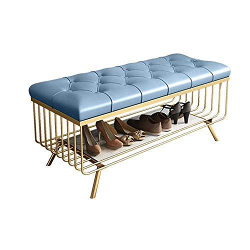 KCSds Schoenenrek, schoen opbergkast Shoe Stand Shoe Kruk, Shoe Bench, Foor Cushion kabinet, Gold Metal Storage Kruk, schoenenkast, Light Blue Bed Room Study