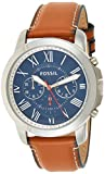 Fossil Men's Grant Quartz Leather Chronograph Watch, Color: Silver, Brown (Model: FS5210IE)
