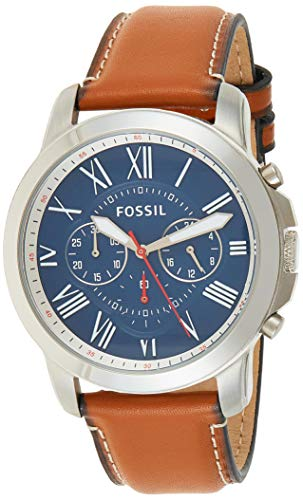 Fossil Men's Grant Quartz Stainless Steel and Leather Chronograph Watch, Color: Silver, Brown (Model: FS5210IE)