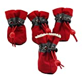 Makluce Zapatos de Perro, 4pcs Zapatos de Perro de Mascotas Caliente Invierno Resistente al Desgaste de Invierno para Perros pequeños, medianos y Grandes en Invierno al Aire Libre