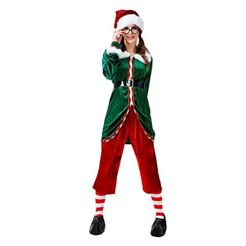 YOUJIAA Herren Damen Weihnachtself Kostüm Erwachsene Elfen Kostüme für Xmas Karneval Cosplay (Stil 1, CN XL)