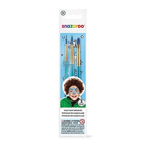 Snazaroo - Set de 3 pinceles de pintura facial, color azul
