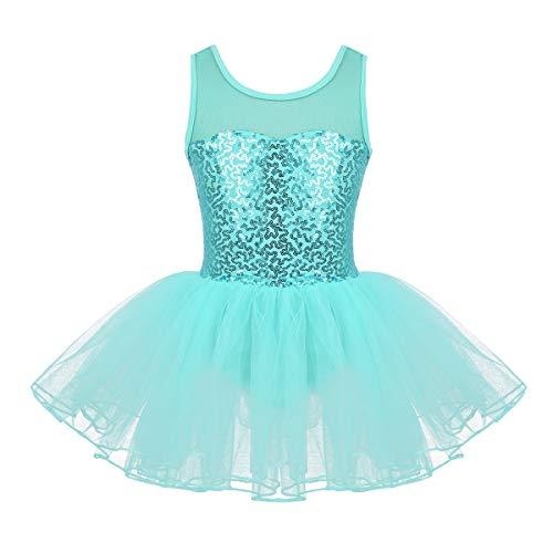 TiaoBug Tut Vestido Ballet Nia Maillots Mallas de Danza Ballet Gimnasia Patinaje con Lentejuelas Disfraz Princesa Bailarina Actuacin Infntil Mint_Green 7 Aos