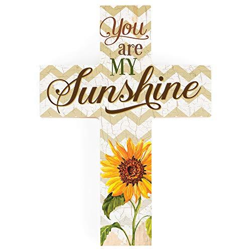 You are My Sunshine Sunflower Chevron 7 x 5 Wood Wall Art Cross Plaque