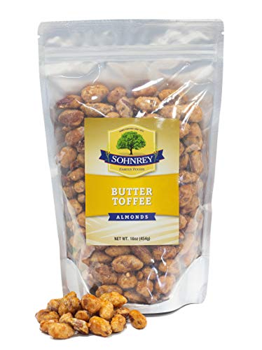 Butter Toffee Almonds Fresh Gourmet Sweet and Salty Crunch Resealable Bag from Sohnrey Family Foods (1 lb)