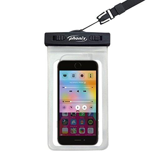 Phonix WB2016JB Wet Bag '16 Sound - Funda Impermeable para Smartphone con cordón en el Cuello y Banda de Brazo, Certificado IPX8, Pantalla máxima de 6', Color Negro
