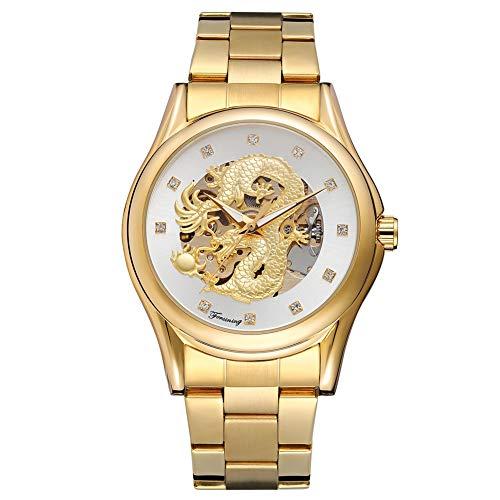 GJHBFUK Reloj de Hombre Hueco Automático Mecánico Dragón Hombres Reloj Reloj De Pulsera Esfera Blanca Correa De Oro