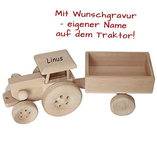 Geschenkissimo Traktor aus Holz mit Gravur - personalisiert mit Name + Abnehmbarer Anhänger - Spielzeugtrecker, Deko, Kindergeschenk & mehr