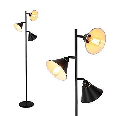 Stepeak 3-Light Metal Standing Light, 180° Adjustable Tree Floor Lighting Classic Black Corner Reading Lamp or Living Room Bedroom -64 Inches