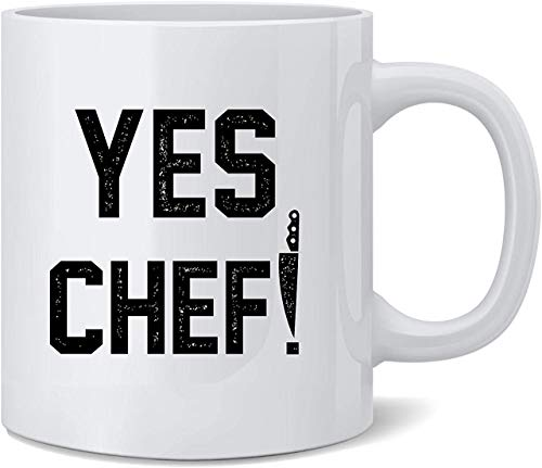Yes Chef Large Text Cooking Funny Ceramic Coffee Mug Coffee Mugs Tea Cup Fun Novelty Gift 11 oz