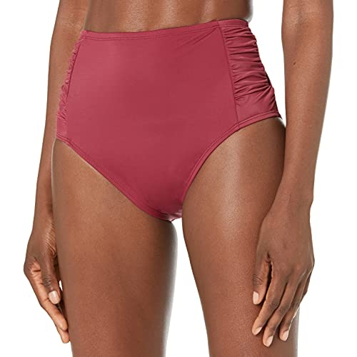 Amazon Brand - Coastal Blue Women's Control Swimwear Bikini Bottom, Merlot, L (12-14)