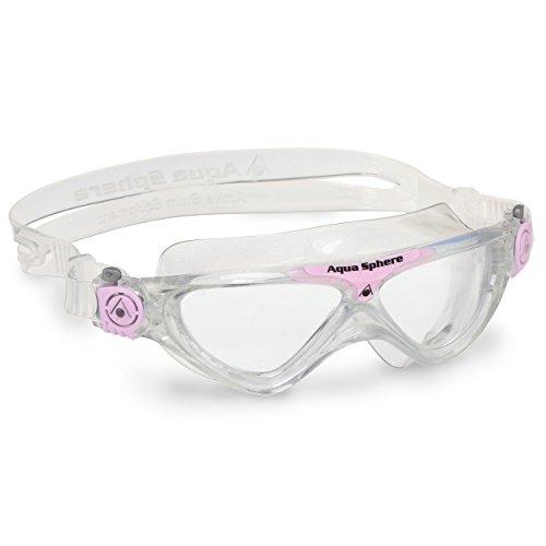 Aqua Sphere Unisex-Youth Vista Jr Schwimmmaske, transparent pink/transparentes Glas, Einheitsgröße