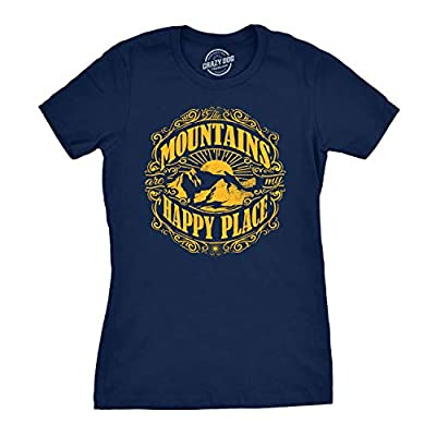 Womens Mountains are My Happy Place Cool Vintage Hiking Camping T Shirt Graphic (Navy) - S