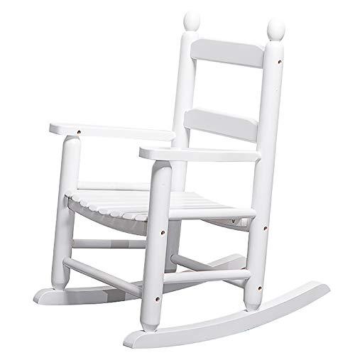 MYL Schaukelstuhl Weißer Hölzerner Schaukelstuhl für Kindergarten, Kinderversorger-Rocker/Relax Lounge-Stühle, Perfekt Für Spielzimmer-Schlafzimmer-Patio-Balkon