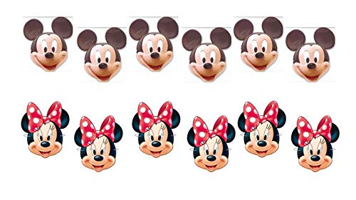 ALMACENESADAN 0559, Pack 12 caretas Disney, 6 caretas Mickey Mouse y 6 caretas Minnie Mouse.