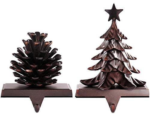 Set of 2 Christmas Stocking Holders for Mantel Christmas Stocking Hangers for Fireplace Christmas Decorations,Christmas Tree and Pine Cone Hook for Stocking and Christmas (Pine Tree and Cone)