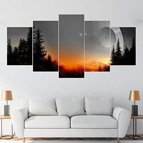 IKDBMUE 5-Teilig auf Leinwand, Star Wars Todesstern Sonnenuntergang Bilder fertig gerahmt mit Keilrahmen, Kunstdruck auf Wandbild mit Rahmen