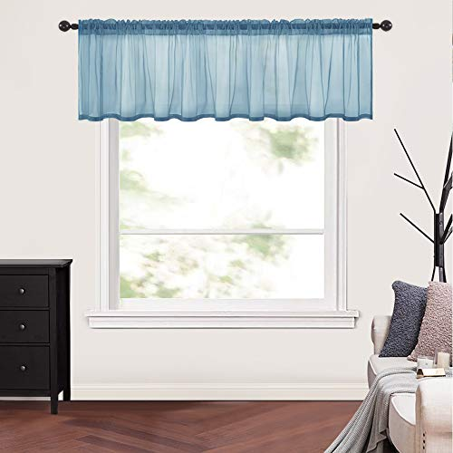 """MIULEE Solid Sheer Navy Blue Valance Kitchen Linen Look Window Curtain,Living Room Windows Voile Valance Rod Pocket 1 Panels (60"""" W x 18"""" L)"""
