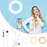 RE Aro de Luz led Anular 6 Pulgadas para Selfie, Anillo de luz de Mesa para maquillajes il...