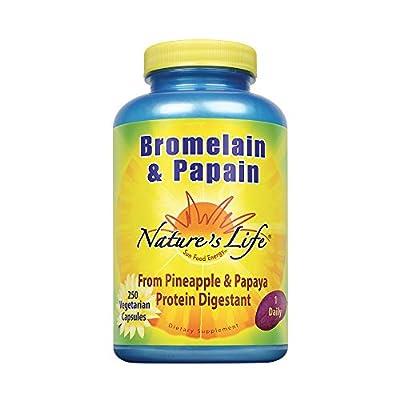 Nature's Life Bromelain & Papain from Pineapple & Papaya , 250/250 Mg, 250 Vegetarian Capsules