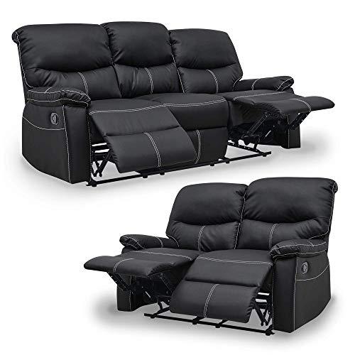 Relax Dina - Conjunto de sofás de 3 plazas y 2 plazas, color negro