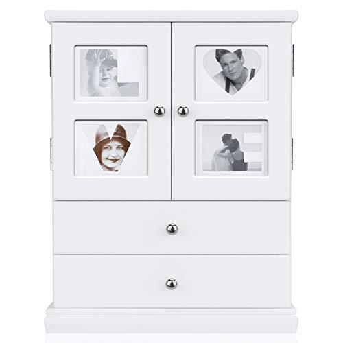 A&A Joyero de madera maciza – Caja de almacenamiento de joyería femenina multifuncional con carrusel y espejo cosmético grande, color blanco