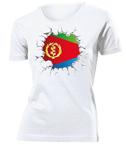 Eritrea Fanshirt Fussball Fußball Trikot Look Jersey Damen Frauen t Shirt Tshirt t-Shirt Fan Fanartikel Outfit Bekleidung Oberteil Hemd Artikel