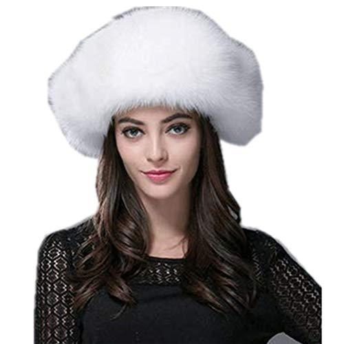 Gegefur Mens Winter Hat Real Fox Fur Genuine Leather Russian Ushanka Hats (White-1)