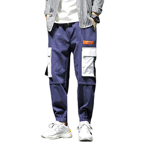 Men's Stretch Elastic-Waist Drawstring Trousers, Loose Straight-Leg Casual Plus Size Pants Version with Multi Pockets 3XL Navy Blue