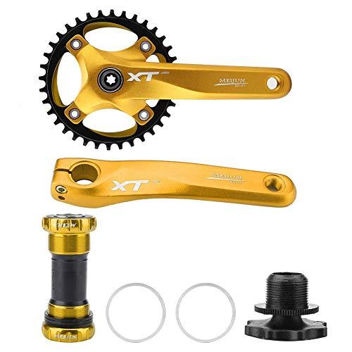 Fahrrad Kurbelgarnitur Mountainbike Kurbel Aluminiumlegierung Integral Single Speed Kurbelarm einstellen Tretlager für Shimano, Prowheel, Sunrace, Truvativ, Sram(Gold)